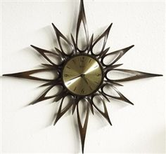 Starburst Mid Century Danish Modern Wall Clock!