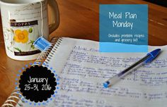 Darcie's Dishes: Meal Plan Monday: 1/25-1/31/16  // A complete 7 day meal plan that includes all meals, snacks and drinks. The meal plan is printable and has a printable shopping list to go with it as well.