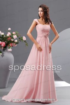 A-line Pink Straps Flowers Beading Long Bridesmaid Dress