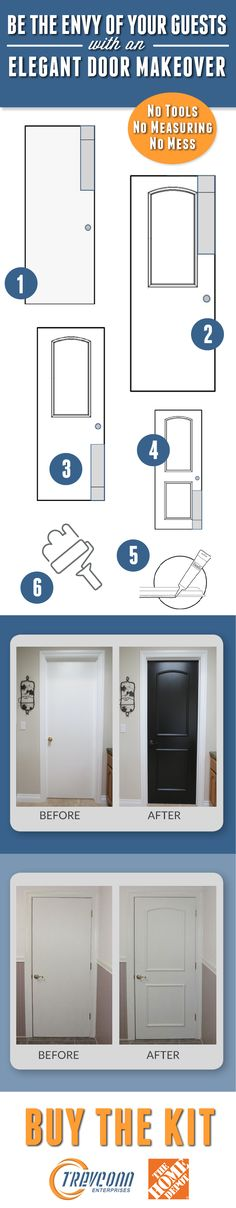 Insanely cleaver DIY project for your home.  Easily turn plain flat interior doors into the look of an attractive raised panel door.  The no tools, no measuring, no mess kit includes everything you need, except paint, to enhance your interior doors!  For more information, please see http://www.homedepot.com/s/ez%2520door?NCNI-5 or www.trevconn.com