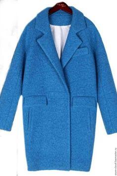 Верхняя одежда ручной работы. Ярмарка Мастеров - ручная работа. Купить пальто оверсайз. Handmade. Голубой, пальто из шерсти