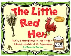 """FREE The Little Red Hen-On the Farm-Story Telling -Sequencing Visuals-FREE from KinderPrep on TeachersNotebook.com - (61 pages) - This package consists of story telling visuals and sequencing story elements for the popular FOLK TALE titled """"The Little Red Hen"""".It is a part of my MEGA FARM pack and I'm offering this section FREE!"""