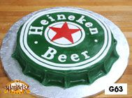 Heineken beer bottle cap grooms cake