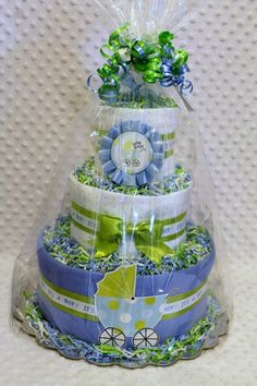 Baby Diaper Cake Boys Shower Gift or by Diannasdiapercakes on Etsy, $56.00