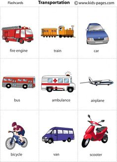 Transportation Flashcards - It's fun to learn Learning English For Kids, Kids English, Baby Learning, English Study, English Words, English Lessons, Teaching English, Learn English, Transportation Activities