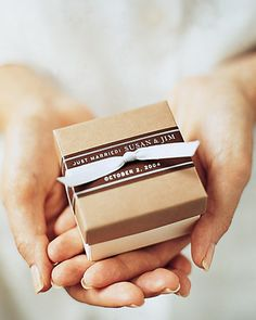 Chocolate Boxes - Tiny versions of the favor boxes were placed on guests' pillows; chocolate dragees are nestled inside.