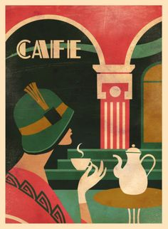 Vintage Poster 'Art Deco Cafe' Graphic Art Print on Canvas - This wall art is museum quality giclee on canvas. Gallery wrapped with image mirrored onto the sides. Posters Vintage, Art Vintage, Art Deco Posters, Art Deco Artwork, Art Deco Paintings, Art Art, Vintage Art Prints, Cafe Posters, Kitchen Posters
