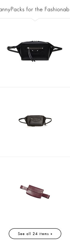 """FannyPacks for the Fashionable"" by lexixoxo87 ❤ liked on Polyvore featuring bags, black, bum bags, waist pack bag, fanny pack bags, fanny bag, belt bag, genuine leather bags, leather belt bag and balenciaga"