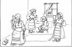 Fata babei si fata mosneagului Early Education, Romania, Activities For Kids, Kindergarten, Babe, Preschool, 1 Decembrie, Embroidery, Pictures