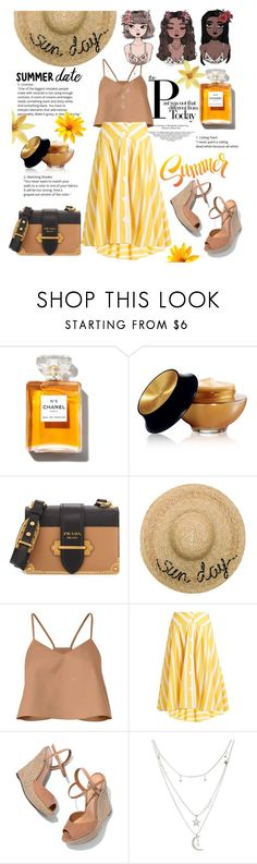 """""""smokin' hot : summer date night 🌝"""" by anoo17k ❤ liked on Polyvore featuring Chanel, Yves Saint Laurent, Prada, Eugenia Kim, TIBI, Thierry Colson, Schutz and Charlotte Russe"""