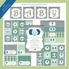DIYPersonalized Blue Elephant Party Package by oohlaladiapercakes, $20.00
