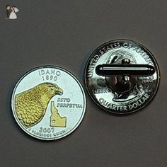 Idaho Statehood Quarter - Gorgeous 2-Toned Gold on Silver Coin, Cufflinks - Groom cufflinks and tie clips (*Amazon Partner-Link)