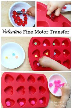 Valentine Fine Motor Transfer Activity for preschool