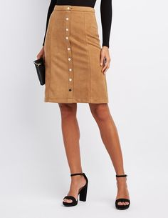 cea4aca34 Charlotte Russe | Skirts · #CRItsOn White Midi Skirt, Button Up Skirts, Body  Con Skirt, Shirt Skirt