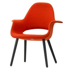 Charles and Ray Eames Organic Chair Red Black Legs Front Vitra