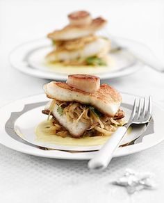 Fried turbot, nutty buttered braised cabbage, fried scallops and a soft vanilla beurre blanc