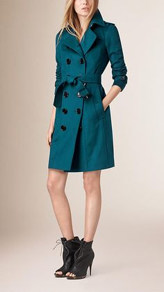 Teal Sandringham Fit Cashmere Trench Coat - Burberry