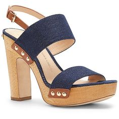 Vince Camuto Vc Signature Blaker D- Wooden Platform Denim Sandal (€255) ❤ liked on Polyvore featuring shoes, sandals, vince camuto shoes, denim sandals, wooden platform sandals, wooden platform shoes and vince camuto footwear