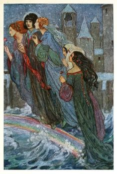 O, sisters, cross the bridge with me, My eyes are full of sand. What matter that I cannot see, If ye take me by the hand? Illustration by Florence Harrison, from Early poems of William Morris, New-York, 1914. Via archive.org.
