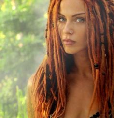 girls with dreads - i miss having red hair and love the way red dreads look! but i'm trying to get away from dying my hair :: Dread Hairstyles, Pretty Hairstyles, Double Nose Piercing, Beautiful Dreadlocks, Dreads Girl, Dreads Man, Hippie Dreads, Dreads Styles, Natural Hair Styles