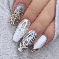59 Awesome Acrylic Nail Art Designs to Inspire You - Nailart White Nail Art, White Nails, New Year's Nails, Nails For New Years, Pretty Nail Art, Nagel Gel, Acrylic Nail Art, Fancy Nails, Classy Nails