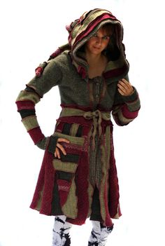 Upcycled Recycled Sweater Coat Elf Coat Elf Hood Pixie by tantor, $275.00