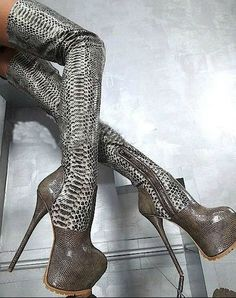 2013 New Arrival Hot Selling Over The Knee High Heel Snake Boots Sexy Platform Pumps Long Boots
