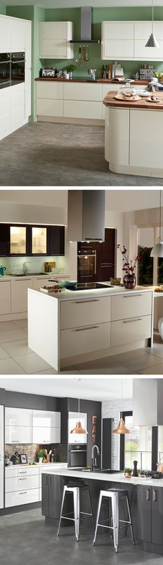 It's easy to create a modern-feeling kitchen without sacrificing comfort or warmth. Pair metallic accessories with dark greys, paint the walls in dark jewel tones, or use cabinet lighting to create a warm glow.