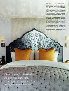 Gorgeous carved paisley headboard, House & Garden UK