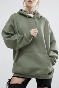 Army Green Bat-Wing Sleeve Casual Sports Hoodie