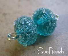 Lampwork Beads - SueBeads - Sugar Beads - Teal Sugar Bead Pair - Handmade Lampwork Beads