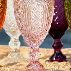 Our line of Carousel Glassware is available in Pink, Aquamarine, Amber and Olive Green. These decorative glassware pieces add an amazing touch to any events table setting! Great for wedding receptions and table settings