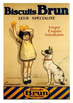 POSTER LITTLE GIRL DOG WANTING COOKIE BISCUITS BRUN FRENCH VINTAGE REPRO FREE SH