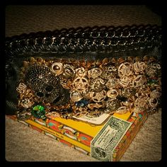 Skull button jeweled black purse All Hand sewn, solid heavy purse with removable adjustable strap. Chain strap also removable. Inside zipper pocket and slot pockets. Nylon lined. Used only once. Mint condition. This gets a lot of attention. Snap closure too. Lots of weight and detail to this piece. Great for a costume! Alexander McQueen look. Bags