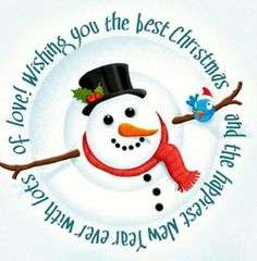 Happy Snowman & funny bird are wishing you the best Christmas and happiest New Year! With lots of love. New Year Holidays, Christmas And New Year, Christmas Fun, Christmas Cards, Christmas Ornaments, Best Christmas Wishes, Christmas Quotes, Holiday Cards, Holiday Decor