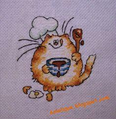 cute, cooking, cat, cross stitch
