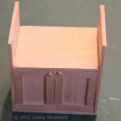 Make a Sink Cabinet for a Dolls House Fitted Kitchen: Fit the Upper Hinge Pins Through the Sink Support Shelf