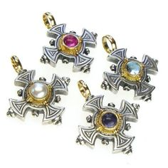Materials Sterling Silver, Gold and a Gemstone of your choice Specifics The cross is approx. inch high including the bale. This listing is for 1 (one) cross, multiple crosses are shown to give ideas about color choices Greek Jewelry, Silver Jewelry, Vintage Jewelry, Handmade Jewelry, Silver Ring, Mens Sterling Silver Necklace, Silver Earrings, Jewelers Near Me, Cross Jewelry