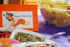The food for our Dora Birthday Party was fairly simple- the party was at 2 pm, so I didn& have plans to feed lunch or dinner, but I knew. Birthday Party Menu, 3rd Birthday Parties, Birthday Ideas, Third Birthday, Baby Birthday, Salsa Bar, Food Tent, Childrens Party, Holiday Parties
