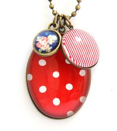 Red PolkaDot Pendant www.cloudninecreative.co.nz Cluster Necklace, Pendant Necklace, Polka Dots, Personalized Items, Classic, Red, Pink, Jewellery, Collection