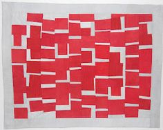 Red cool abstract quilt--neat done with one color