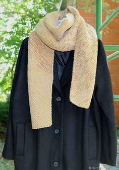 """Купить вязаный шарф широкий теплый """"Осень Золотая"""" - бежевый, вязаный шарф, меланжевый шарф"""