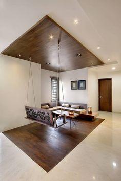 Nitya Bungalow – a+t associates Living Room Wall Designs, Living Room Partition Design, Room Partition Designs, Ceiling Design Living Room, Home Ceiling, Home Room Design, Home Interior Design, Interior Decorating, House Design