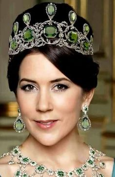 Crown Princess Mary of Denmark with badly photoshopped jewels that at one point were part of the Hapsburg collection and are now privately owned.