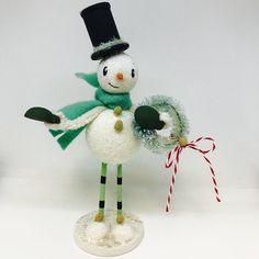 "Cheerful glass glitter snow guy 6"" w/stripey stockings (Green) by Melissa Belanger by MelissaBelangerArt on Etsy https://www.etsy.com/listing/578981847/cheerful-glass-glitter-snow-guy-6"