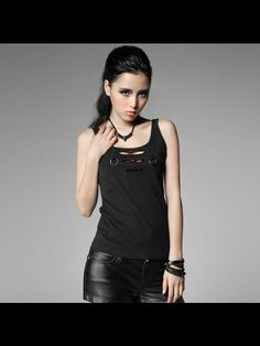 sleeveless garment/ black Gothic punk T-shirt from PUNK RAVE T-317