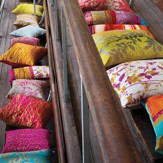 Bright outdoor scatter cushions. www.handbag.com