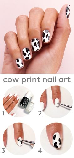 how to create trending 'cow nails' nail art. first apply coats of shade 'blanc' to nails. then, using a large dotting tool, create cow spots using shade 'licorice'. the more random, the better! seal the look with a coat of speed. Diy Nagellack, Nagellack Trends, Ongles Bling Bling, Bling Nails, Silver Glitter Nails, Rhinestone Nails, Cow Nails, Feet Nails, Yellow Nails