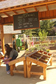 farm stand - wonder if we could DIY those wooden display cases?