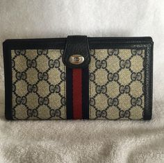 05e805cf3fc Gucci Continental Clutch Wallet GG Monogram Red Blue Webbing. Free shipping  and guaranteed authenticity on